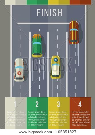 Racing cars top view. Infographic Template. Flat vector illustration.