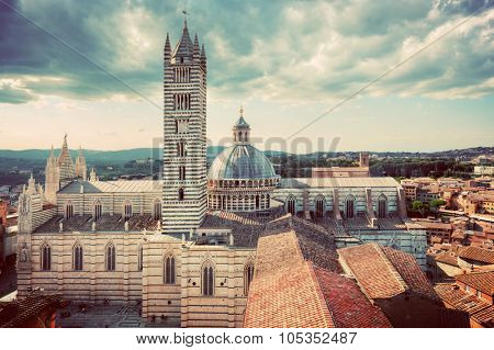 Siena, Italy panorama rooftop city view. Siena Cathedral, Duomo di Siena. Tuscany, vintage