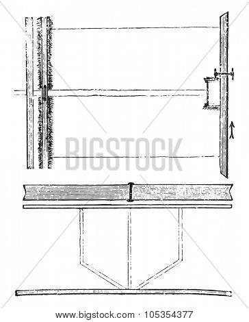 Flood irrigation, Irrigation boards, vintage engraved illustration.