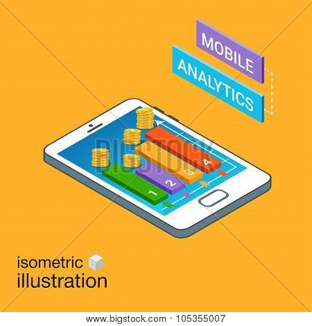 Isometric Smartphone With Graphs. Mobile Analytics Concept