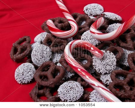 Chocolate Pretzels, Candy Canes, Nonpareils