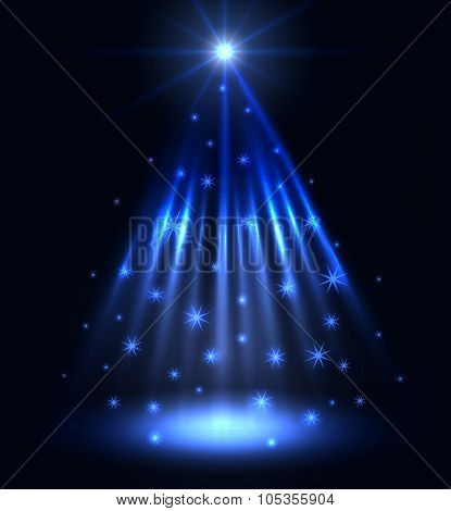 Abstract blue spotlight Christmas vector background.