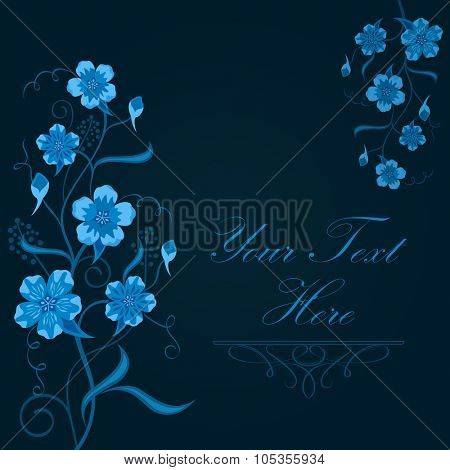 Dark blue floral vector background with copy space.