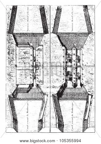 Former Plan of the sluice Mardyck, vintage engraved illustration. Magasin Pittoresque 1867.
