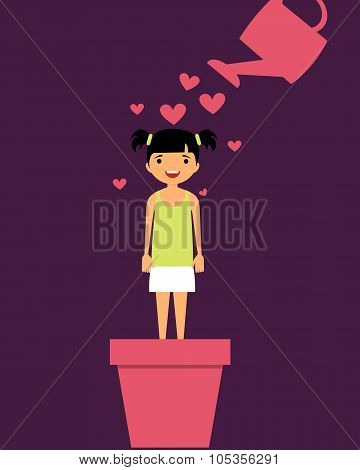 Parenting child with love. A girl stands in flower pot and watered from a watering hearts.