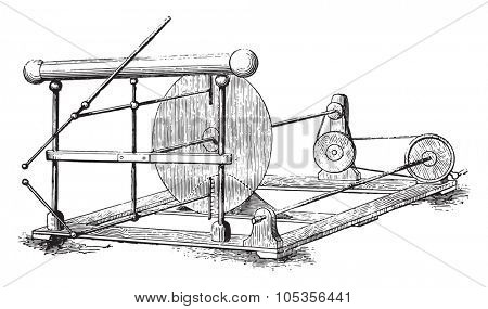 New electric machine, vintage engraved illustration. Magasin Pittoresque 1867.