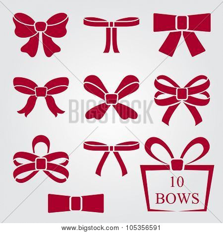 Flat design red bow shapes vector set.