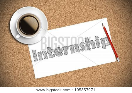 Coffee And Pencil Sketch Internship On Paper