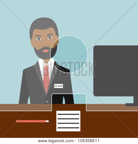 Black Man Man Clerk In A Bank.