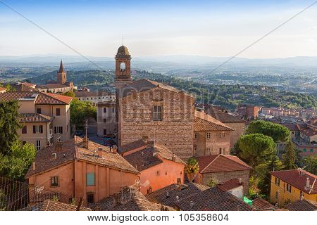 Perugia, View Of The Old City And Chiesa Di Santo Spirito, Umbria, Italy