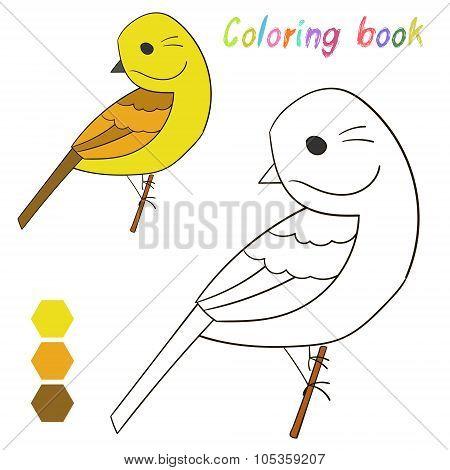 Coloring book bird yellowhammer