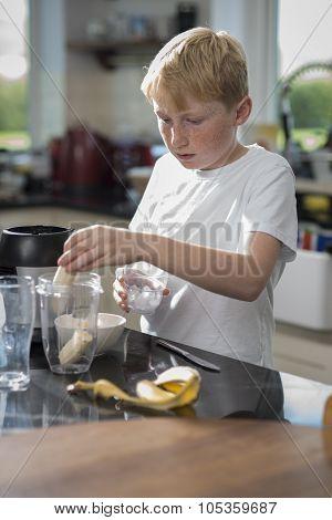 Boy Blending A Smoothie