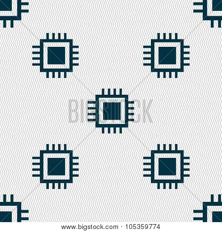 Central Processing Unit Icon. Technology Scheme Circle Symbol. Seamless Abstract Background With