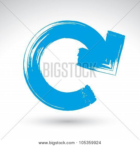 Hand-painted Blue Update Sign Isolated On White Background, Simple Repeat Navigation Icon, Created W