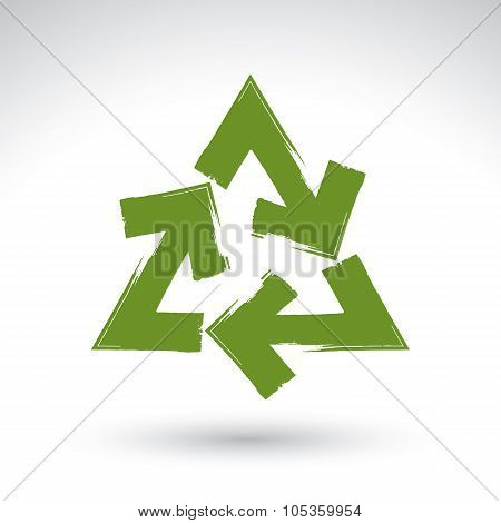 Hand-painted Recycle Sign Isolated On White Background, Simple Recycle Icon, Created With Real Hand