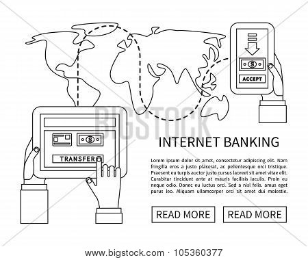 Internet banking, mobile payments, money transfer. Linear flat design vector