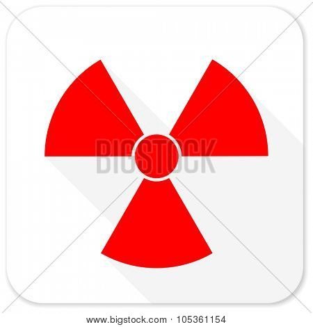radiation red flat icon with long shadow on white background