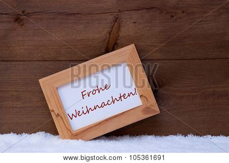 Picture Frame With Text Frohe Weihnachten Means Merry Christmas