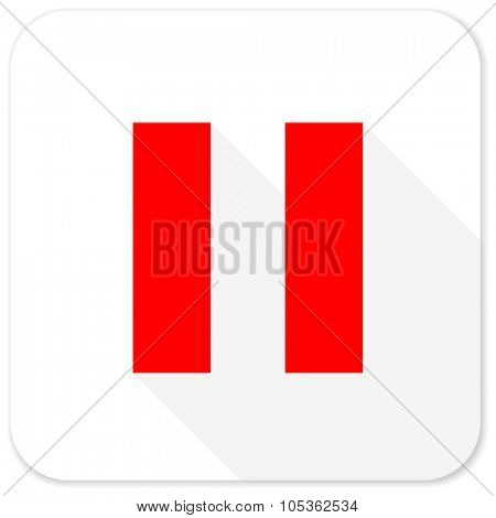 pause red flat icon with long shadow on white background