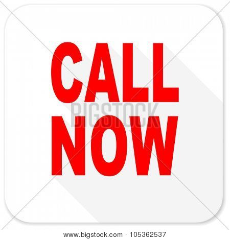call now red flat icon with long shadow on white background