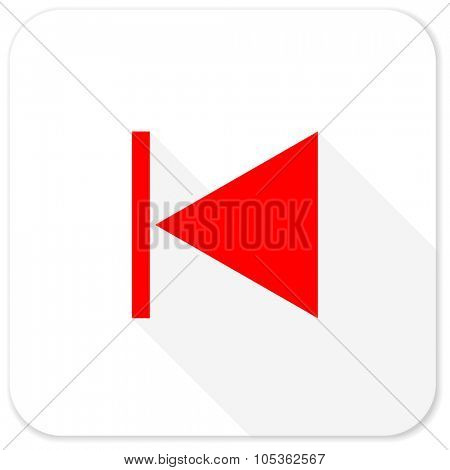 prev red flat icon with long shadow on white background