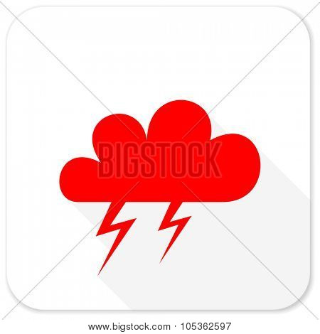 storm red flat icon with long shadow on white background