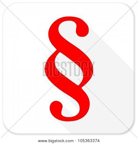 paragraph red flat icon with long shadow on white background