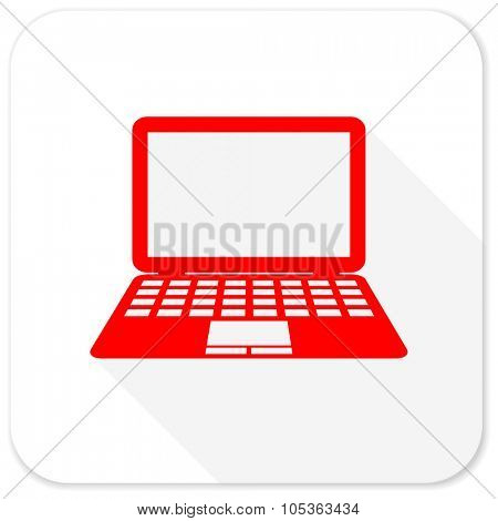 computer red flat icon with long shadow on white background