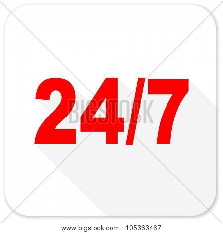 24/7 red flat icon with long shadow on white background
