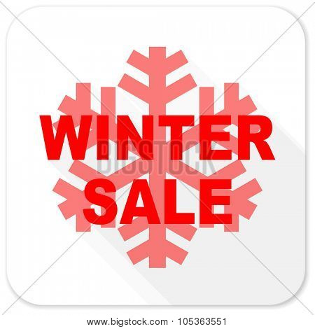 winter sale red flat icon with long shadow on white background