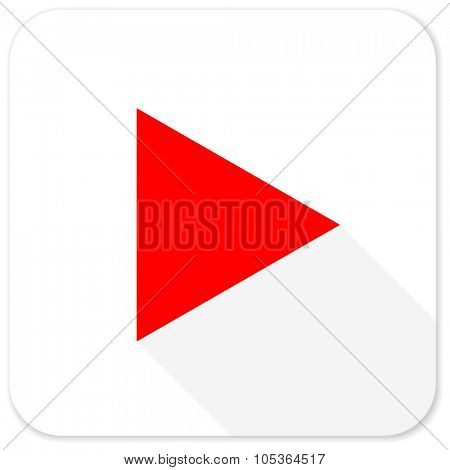 play red flat icon with long shadow on white background