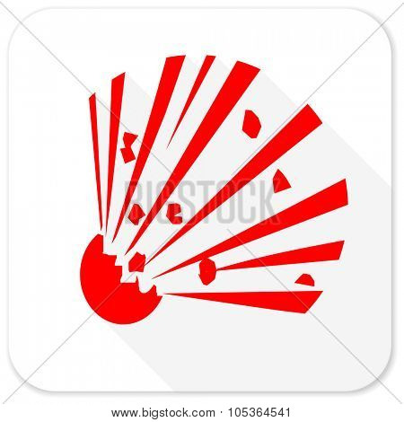 bomb red flat icon with long shadow on white background