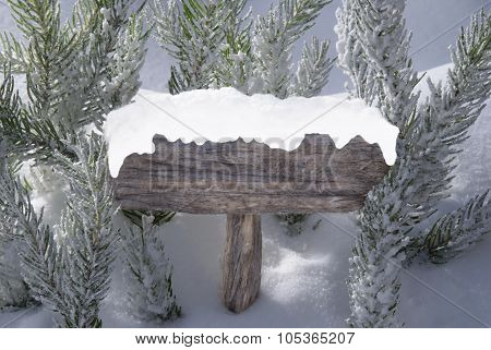 Christmas Sign Snow Fir Tree Branch Copy Space