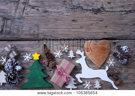 Brown, Green, Red Christmas Decoration, Tree, Reindeer, Gift