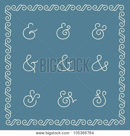 Elegant and stylish custom ampersands for wedding invitation. Vector illustration