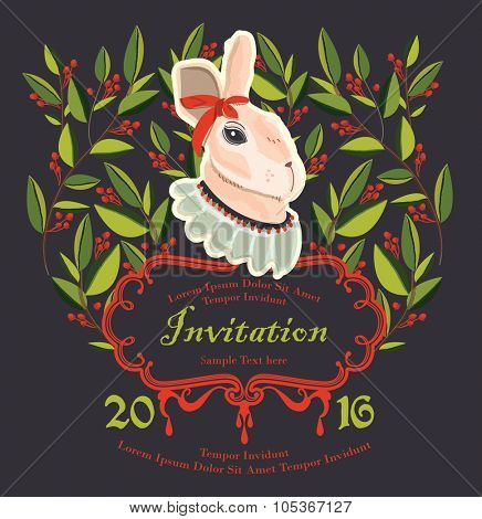 illustration rabbit invitation, Easter day Card, Birthday Card