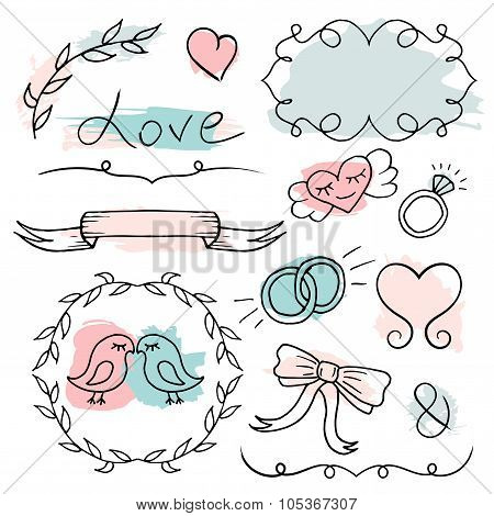 Romantic Set. Vector Hand Drawn Elements.