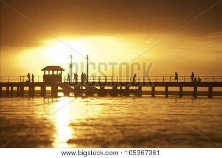 Sunset Setting Over Pier