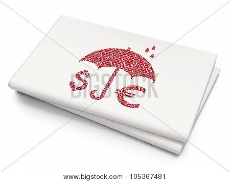 Security concept: Money And Umbrella on Blank Newspaper background