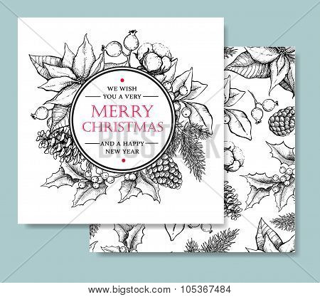 Vector Merry Christmas And Happy New Year Hand Drawn Vintage Car