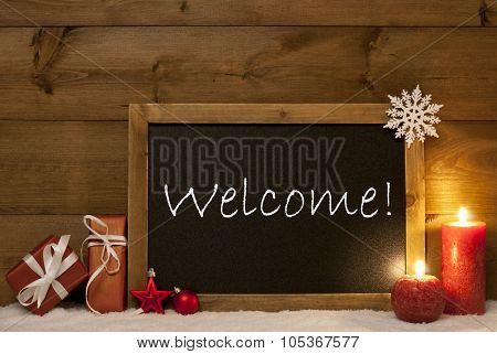 Festive Christmas Card, Blackboard, Snow, Candles, Welcome