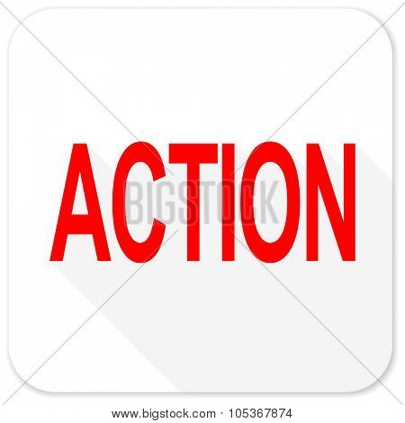 action red flat icon with long shadow on white background