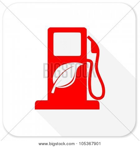 biofuel red flat icon with long shadow on white background