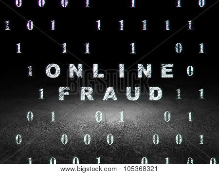 Privacy concept: Online Fraud in grunge dark room