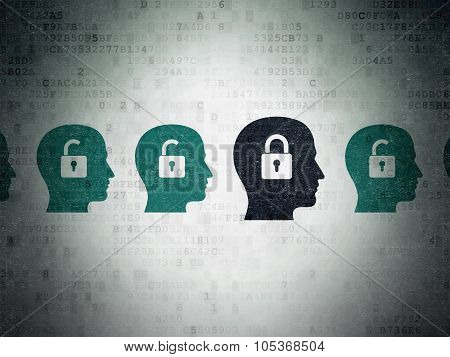Privacy concept: head with padlock icon on Digital Paper background