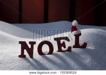 Card With Santa Hat And Snow, Noel Mean Christmas