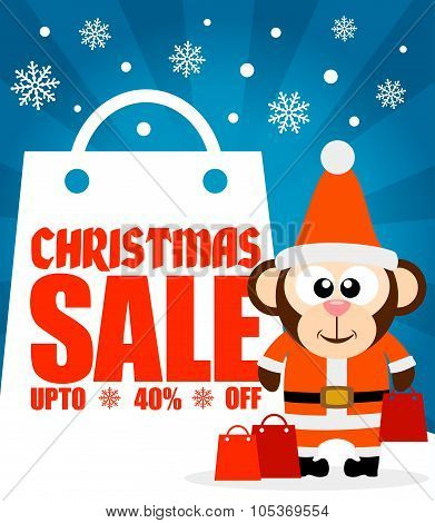 Christmas sale background with monkey vector