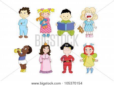 A set of cartoon toddler characters wearing pajamas