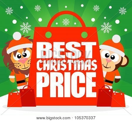 Best Christmas Price card with lion and monkey