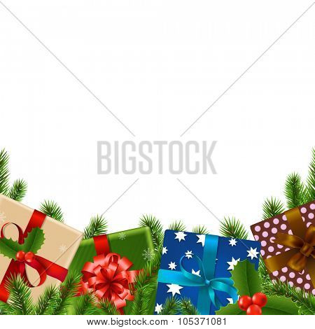 Christmas Border With Gradient Mesh, Vector Illustration